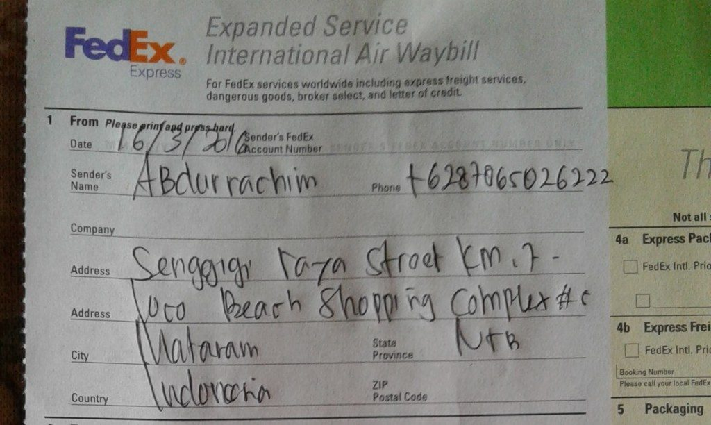 This is my name, my phone number and my address, as a sender (written by FedEx)